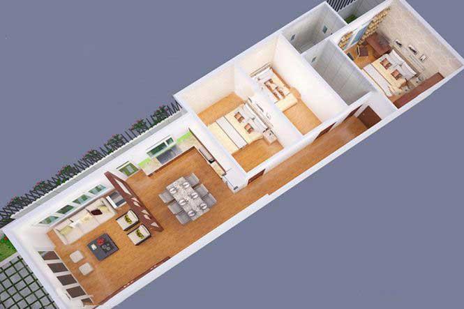 Bản vẽ mặt bằng nhà cấp 4 mái thái 3 phòng ngủ